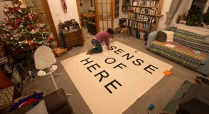 laying out the letters on the canvas