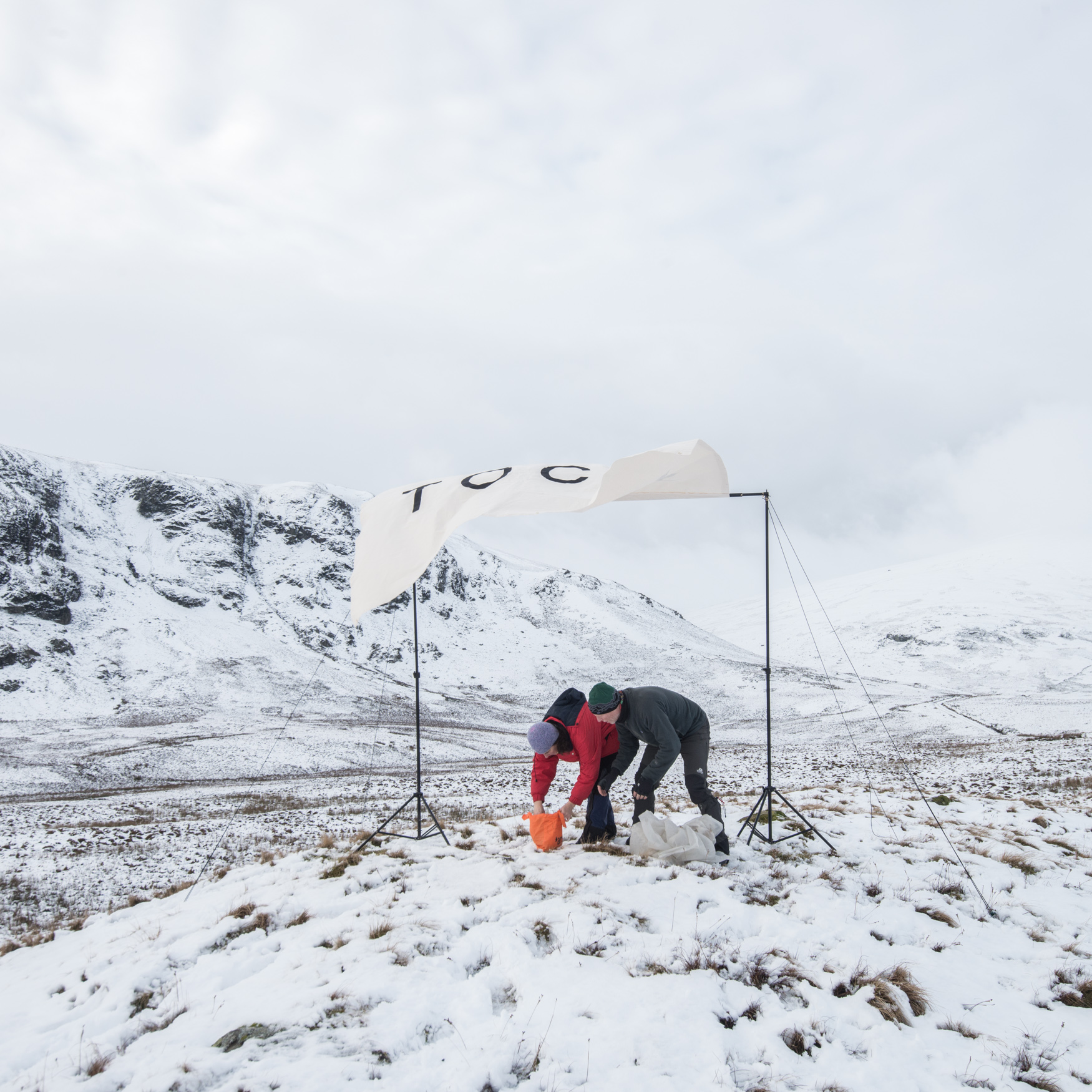 Pegging down the January Canvas in the snow