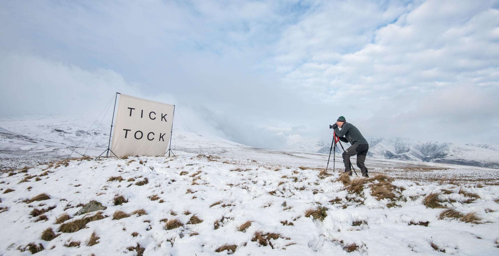 photographing Tick Tock on the Linhof film camera
