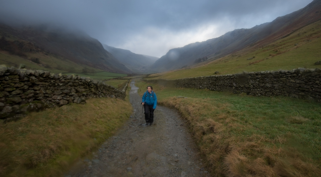 The end of the walk from Gatesgarth Pass, just as the rain sets in.
