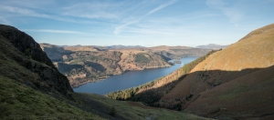 Looking down onto Thirlmere from the trail up to Helvellyn