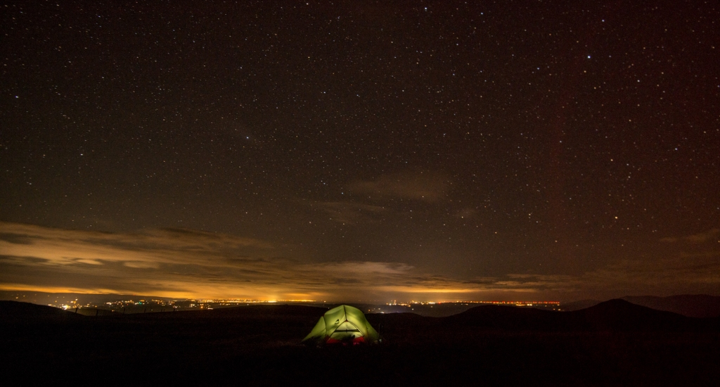 We observed Earth Hour from our campsite on Harter Fell. The lights to the south were striking