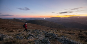 Heading down from the tops as the sun sets