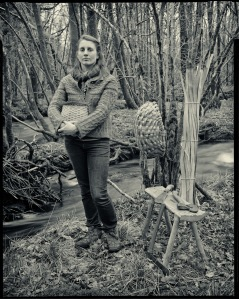 Lorna Singelton with some of her oak products from the woods that she coppices in south Lakes
