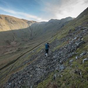 Walking below Heck Crag towards the saddle