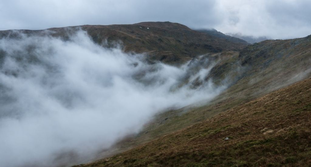 Clouds creeping up the the head of the Kentmere Valley