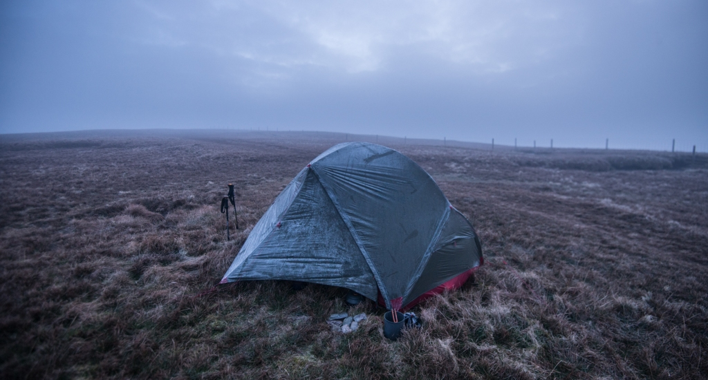 Overnight temperatures dipped to below minus 2 leaving frost on the tent