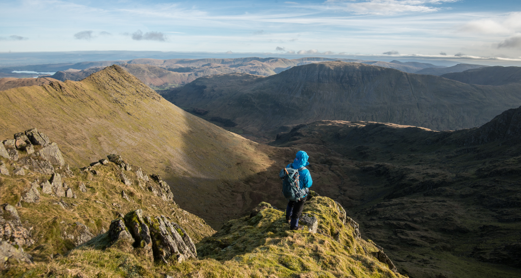 Looking down into Nethermost Cove from the ridgeline. Striding Edge can be seen to the left.