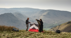 putting up the tent on the 120 degree line from the Under Helm Sycamore. The tree sits at the centre of this project and can be seen in the distance on the scree slopes to the left of Rob.