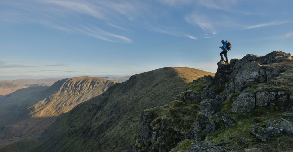 Making notes on the edge of Helvellyn