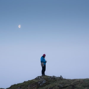 Moon high before the sun sends its rays into the valley during the April camp