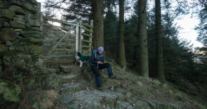 making notes in the woods above Wythburn church