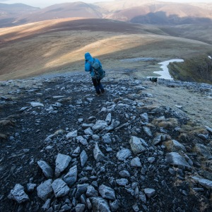 Heading away from Blencathra down the appropriately named Blue Screes, whitened by the frost.
