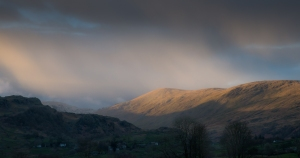Late afternoon sun on Kentmere Pike, before a band of hail swept across the valley
