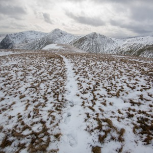 Snowed up track leading down into Kentmere valley.