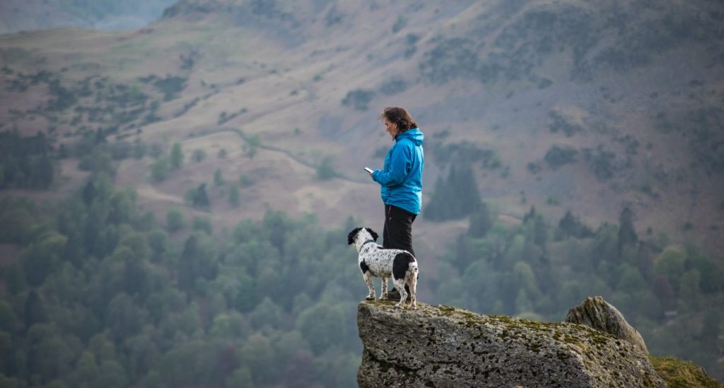 Taking in the feel of the place from a small rocky outcrop above Grasmere.