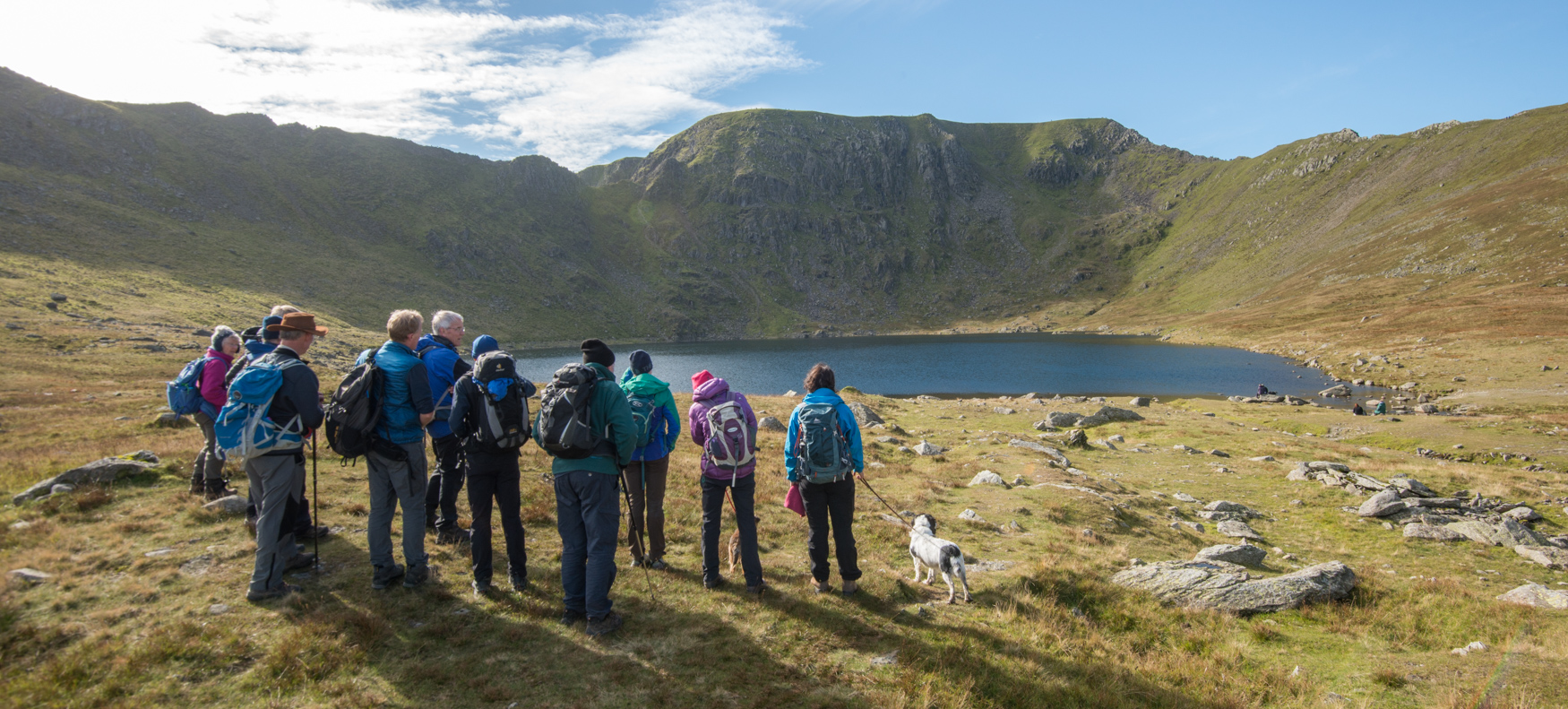 Learning about the work of the John Muir Trust on Glenridding Common through their ranger, Pete Barron in the autumn of 2018. Helvellyn summit can be seen at the back