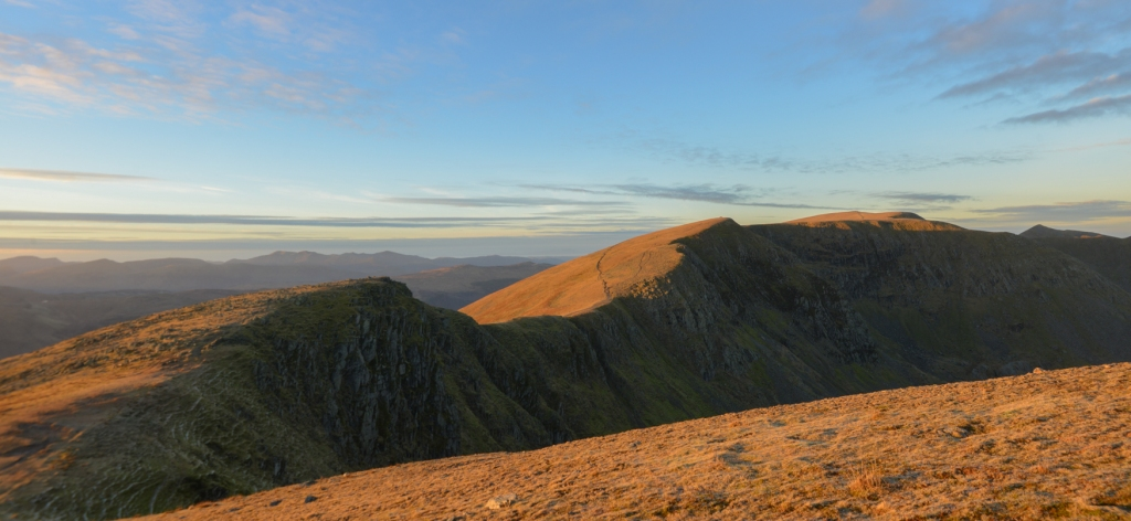 Last of the evening glow on Nethermost Pike and Helvellyn summit